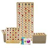 MR CHIPS Jam-Proof Bingo Cards with Sliding Windows, 50 Tan Woodgrain Bingo Cards, 75 Bingo Calling Cards, 1 Bingo Master Board