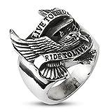 Autiga Live to Ride - Ride to Live Biker Ring Adler Flügel Herren Männer Edelstahl Silber 70 - Ø 22,20 mm