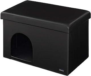 ペットハウス スツール レザー ペット用ハウス 折りたたみ 折り畳み ペット ハウス 犬 イヌ 猫 ネコ (長方形ワイド)