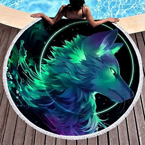WellWellWell Wolf - Toalla de playa de secado rápido, toalla de baño para hombres y mujeres, color blanco, 150 cm
