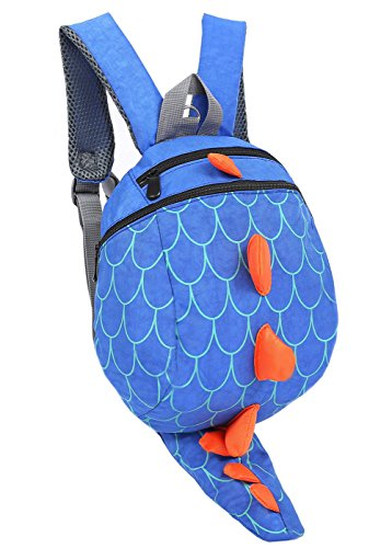 ZHUANNIAN Kids Toddlers Dinosaur Backpack with Safety Leash for Boys Girls(Blue)