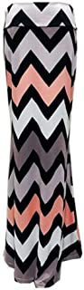 neveraway Women's USA Colorful Printed Fold Over Waist Maxi Long Skirt