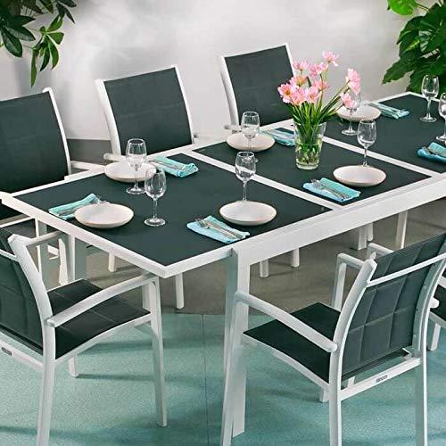 Lazy Susan Table Florence et 8 chaises Georgia - Blanc & Gris | Table Extensible 240cm pour l'intérieur et l'extérieur