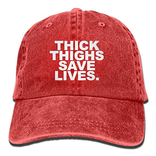 Thick Thighs Save Lives Adjustable Denim Hat Baseball Hat Black,Personality Caps Hats Men Women Casual Denim Adjustable Dad Hat Baseball Cap Trucker Hat