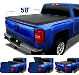 Tyger Auto T3 Soft Tri-Fold Truck Bed Tonneau Cover Compatible with 2014-2018 Chevy Silverado/GMC Sierra 1500; 2019 LD/Limited Only | Fleetside 5'8' Bed (68') | TG-BC3C1006, Black