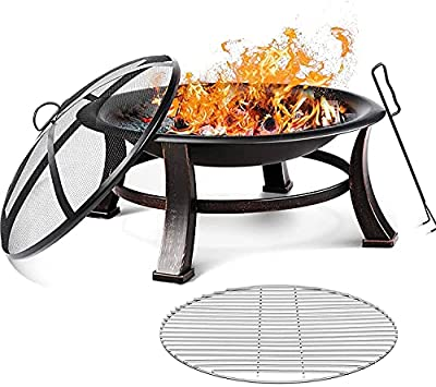 Fire Bowl, Garden Terrace Fire Pit with Grill, Poker & Protective Grille, Fire Pit for Heating / BBQ, Fire Basket with Waterproof Protective Cover, for Camping Yard Garden Terrace(76x76x46cm) from spaire