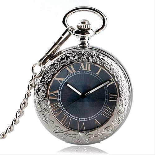 YYhkeby Pocket WatchGift Automático Mecánico Romano Número de Bolsillo Vintage Silver Steampunk Self Wind Gray Dial Fob Relojes P Jialele (Color : Silver)