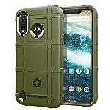 JUNXI Phone Custodia Protettiva Antiurto Custodia Protettiva Full Coverage per Motorola Moto P40 Play (Verde Militare) Semplice e Confortevole (Colore : Army Green)