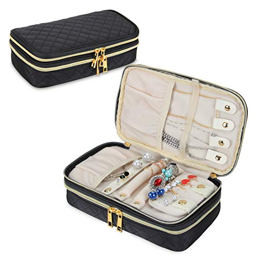 Teamoy Double Layer Jewelry Organizer Quilted Jewelry Travel Case for Rings Necklaces Earrings Bracelets and More BlackBag Only