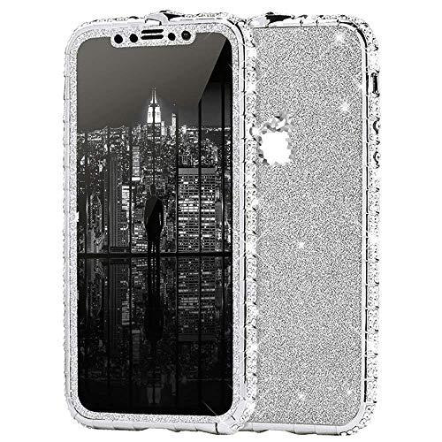 Surakey Kompatibel mit iPhone 7 Hülle Glitzer Glänzend Kristall Bling Handyhülle Glitzer Strass Diamant Metall Bumper Case Vorne Hinten Glitzerfolie Skin Schutzhülle Tasche für iPhone 7,Silber