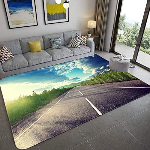 Alfombra para salón - Carretera Asfáltica Recta 3D Impreso Alfombras Grandes - Patrón De Carretera De La Moda Alfombras Rectangulares Antideslizantes Para Alfombras De La Habitación De La Chica A