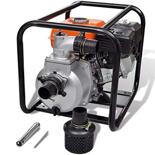 mewmewcat Bomba de Agua con Motor de Gasolina 3600rpm 3,6L 5,5HP Naranja Negro y Plateado Metal 48x37x38 cm
