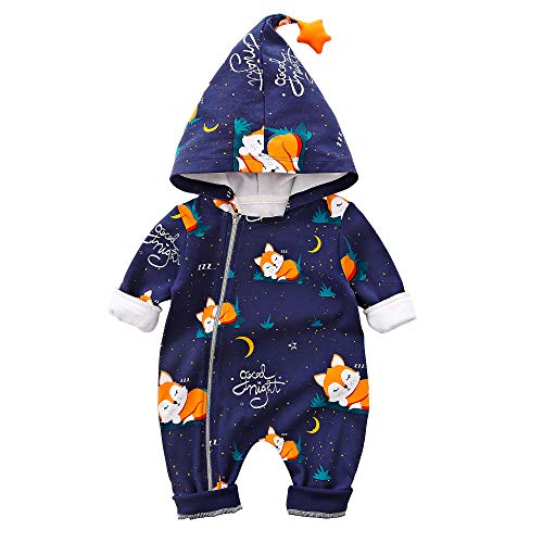 Baby Zipper Clothes Stylish Fox Design Long-Sleeve Hooded Jumpsuit for Baby Blue
