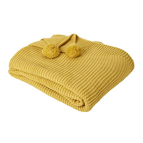 Dreamscene Chunky Throw Large Knitted Thick Warm Pom Sofa Bed Blanket, 150 x 180cm, Polyester, Mustard Ochre Yellow, 150 x 180 cm