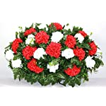 XL-Red-Carnations-and-White-Roses-Artificial-Silk-Flower-Cemetery-Tombstone-Grave-Saddle