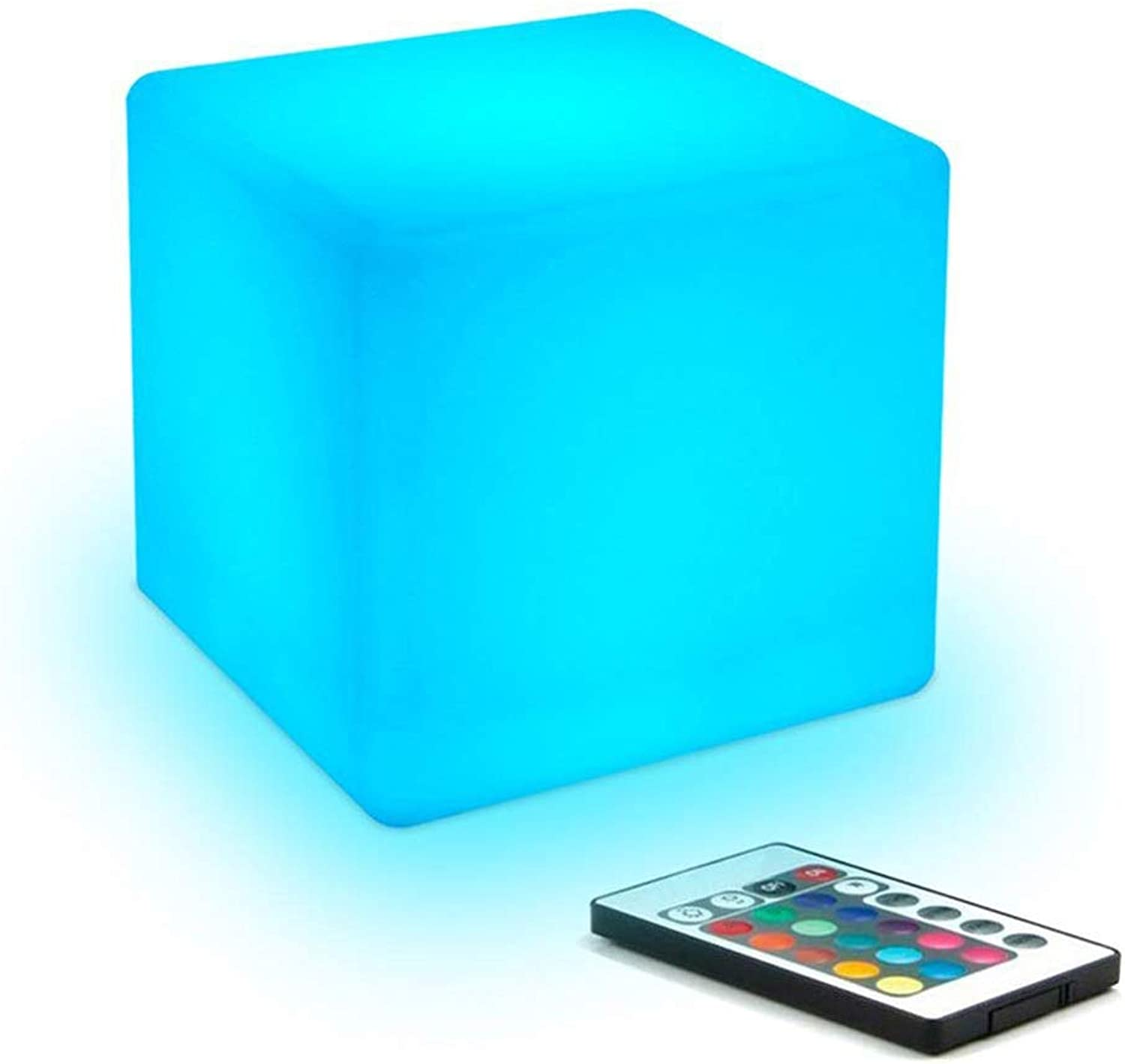 Kikioo Fashion Waterproof LED Cube Mood Light with Remote Control USB Lights Stool& 16 RGB Colour Adjustable, 4 Mode Table Bedroom Chair Lamp for Bar Pool Party Indoor Outdoor Decoration