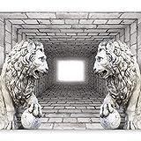murando Fototapete 3d Effekt 400x280 cm Vlies Tapeten Wandtapete XXL Moderne Wanddeko Design Wand Dekoration Wohnzimmer Schlafzimmer Büro Flur Ziegel Mauer Löwe Tunnel d-A-0036-a-b