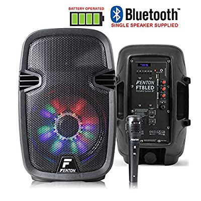 """Fenton Portable DJ PA Speaker System 15"""" 800w Bluetooth Music Lights and Wireless Microphone Battery Powered by Tronios BV"""