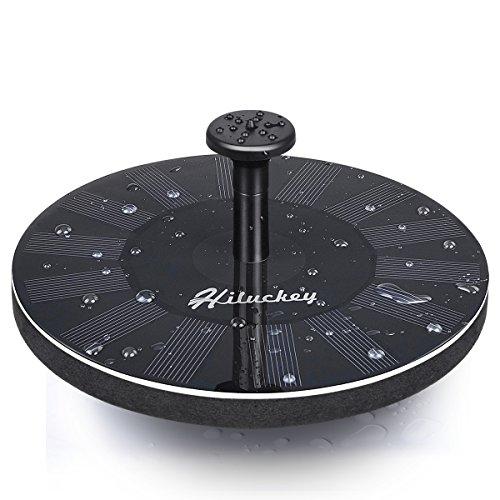 Hiluckey Solar Fountain Pump Bird Bath 1.6W Free Standing Solar Water Pumps Kit for Garden Outdoor