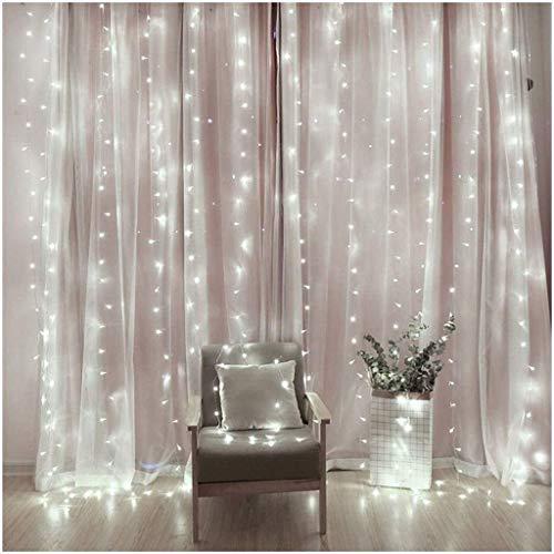 ZBM-ZBM Gordijnlichten, USB-stekker raam verlicht, 8 verlichtingsmodi, afstandsbediening, Fairy Light, waterdicht, led-koperen snoerlicht voor outdoor, indoor, bruiloft, slaapkamerdecoratie, wit