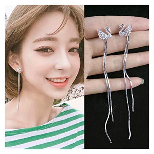 SSN Temperament Pearl Zircon Long Tassel Ear Line Hypoallergenic Female Simple Earrings Fashion Earrings (Color : E)