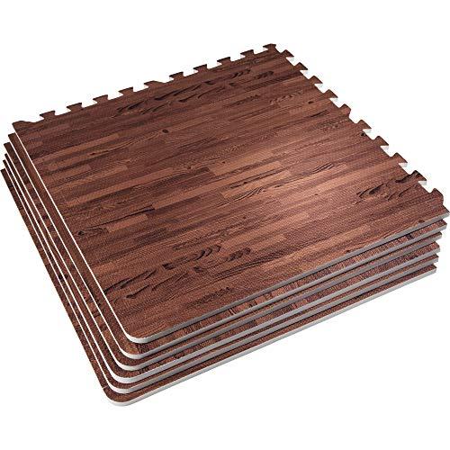 GORILLA SPORTS® Schutzmatten-Set mit Endstücken - Puzzle-/Unterleg-Matten 62 x 62 x 1,2 cm Holzoptik dunkel