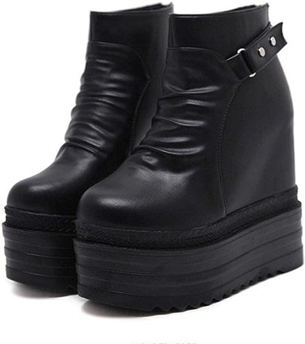 LBTSQ-La Pente des Talons Super Talons Haut Chaussures Bottes étanches Bas Nue épaisse 13Cm Ceinture Boutons Bottes Chaussures en Peluche Dame