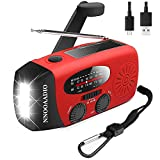 1200mAh Emergency Weather Radio, 3LED Hand Crank Solar Battery Operated Wind Up Radio Flashlight, NOAA AM FM Portable Radio Cell Phone Charger Survival Kit (Red)