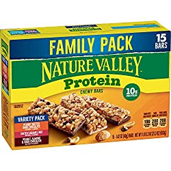 Nature Valley Peanut Butter Dark Chocolate, Salted Caramel Nut, Almond & Protein Chewy Bars, 21.3 Oz