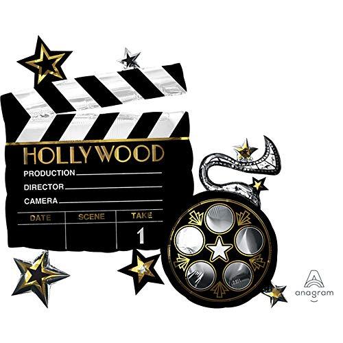 amscan 3683301 Folienballon Hollywood, Schwarz, Weiß, Gold