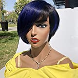 SAGA QUEEN Human Hair 1B/blue Pixie Cut Wigs with Free Side Part Bangs Brazilian No Lace Front Human Hair Layered Wigs With Bangs Pixie Short Bob Wig for Women