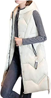 Womens Mid-Length Hooded Quilted Puffer Vest Sleeveless Winter Outwear Jacket