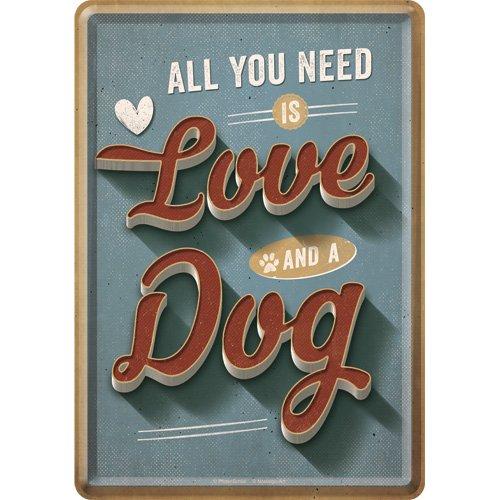 Nostalgic-Art Retro Grußkarte PfotenSchild Love Dog, Geschenk für Hunde-Besitzer, Blechpostkarte, Mini-Blechschild im Vintage-Design, 10 x 14 cm