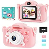 Unicorn Kids Camera for Girls Toddler - Mini Digital Camera Toys for 3 4 5 6 7 8 Years Old Children - Anti-Drop 20.0MP Selfie Dual Video Camcorder - 2.0 Inches Screen + SD Card 32GB