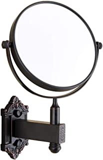 Vanity Mirror Wall-Mounted Makeup Mirror 360 Degree Free Rotation Bracket Perforated Double-Sided Antique Brushed Copper HD for Family