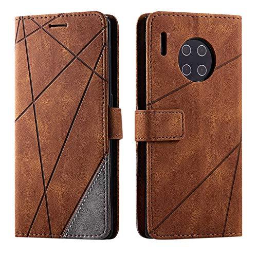 Hülle für Huawei Mate 30 Pro, SONWO Premium Leder PU Handyhülle Flip Hülle Wallet Silikon Bumper Schutzhülle Klapphülle für Huawei Mate 30 Pro, Braun