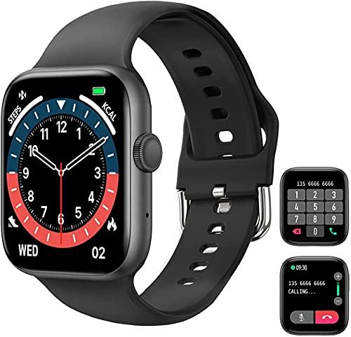 Smart Watch (Empfangen/Tätigen eines Anrufs), 1,72 '' Full Fitness Armbanduhr mit Bluetooth-Anruf Pulsuhr Blutdruck Sauerstoff Schrittzähler Schlaf Tracker Sportuhr für Frauen Männer iOS Android