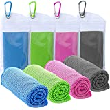 TowelTouch Cooling Towel Workout, Gym, Fitness, Golf, Yoga, Camping, Hiking, Bowling, Travel, Outdoor Sports Towel for Instant Cooling Relief (4 Packs)