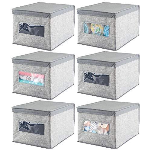 mDesign Juego de 6 cajas de tela – Cajas con tapa de polipropileno transpirable – Caja organizadora ideal como organizador de armarios – Caja para guardar ropa o accesorios de bebé – gris