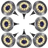 Solar Bodenleuchten Aussen Solarleuchten Garten 8 Stück 12 LEDs Solarlampen LED Gartenleuchten Außenleuchte, Wasserdicht IP65 Landschaftslichter für Rasen, Dachrinnen, Fahrstraßen Gehweg, Kaltweiß
