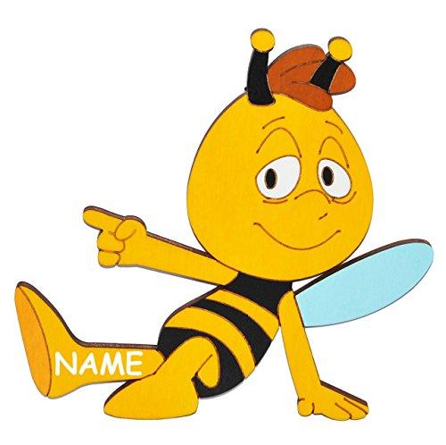alles-meine.de GmbH Willi sitzt / von die Biene Maja  - Türschild / Wandbild / Wandtattoo - incl. Name - aus Holz - selbstklebend - Bilder / Aufkleber Wandsticker Wanddeko Kin..