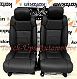 KATZKIN Black Leather Seat Covers Compatible with 2014-2015-2016-2017-2018-2019-2020 Toyota Tundra CrewMax