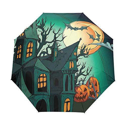 SUHETI Regenschirm Taschenschirm,Halloween Dekorationen Spuk Mittelalterliche Cartoon Fledermäuse In Twilight Gothic Fiction Spooky Orange,Auf Zu Automatik,windsicher,stabil