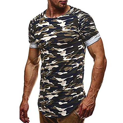 Buy Forthery Mens Fashion Casual Short Sleeve Pullover Crew Neck Tee Pullover T Shirts (Green, US M ...