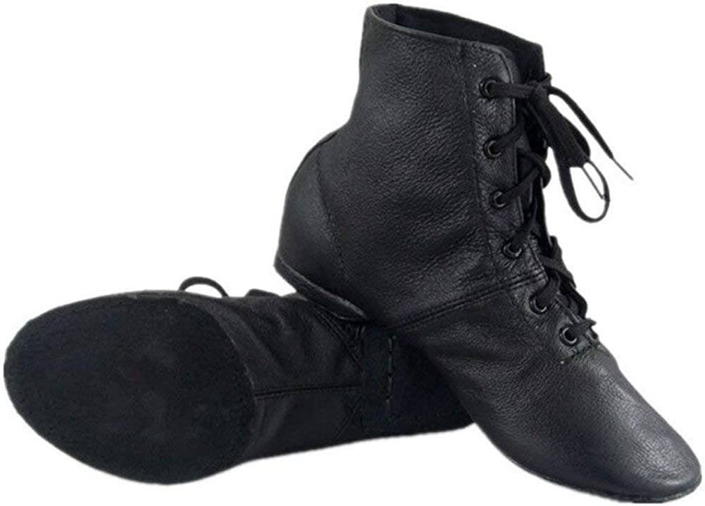 Cheapdancing Children's Practice Dancing Shoes Soft Leather Flat Lace-up Jazz Boots (Little Kid/Big Kid)
