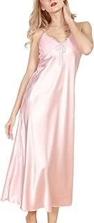 Women's Spring and Summer Imitation Silk Pajamas Long Paragraph Split Sexy Sling Sleep Dress