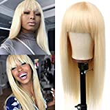 Kressi 613 Honey Blonde Brazilian Virign Hair 613 Straight Human Hair Wigs with Bangs 150% Density None Lace Front Blonde Wigs for Black Women Glueless Machine Made Wigs