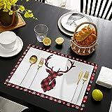 HOMMOU Juego de 4 manteles individuales con diseño de reno de alce de color rojo, de algodón y lino, resistentes al calor, antideslizantes, lavables para fiestas, banquetes, comedores, cocina, mesa