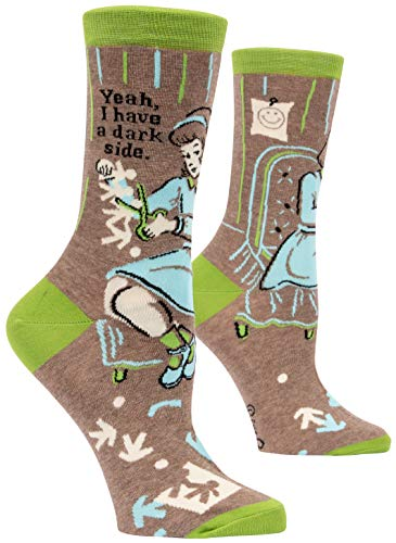 Blue Q Women's Novelty Crew Socks - Yeah, I have a dark side. (Womens Size 5-10)