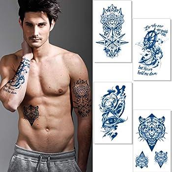 Aresvns Premium Semi-Permanent Tattoos for Men and Women,Dark Blue Temporary Tattoos Lifelike Waterproof and Long-Lasting 1-2 Weeks,Temporary Half Arm Tattoos 4.33x7.08 Inch Tiger Navigational Eye